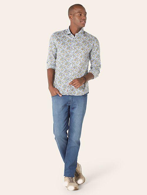 Camisa Manga Longa Floral Slim Jeanswear Azul