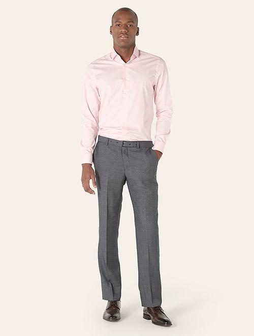 Camisa Manga Longa Social Super Slim Com Elastano Rosa
