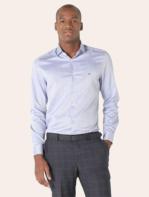 Camisa Social Super Slim Maquinetada Azul
