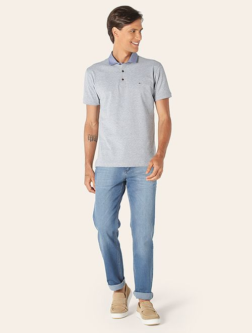 Polo Zigzag Gola Chambray