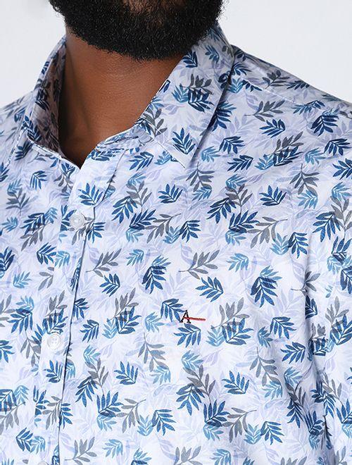 Camisa Slim Folhagem Azul