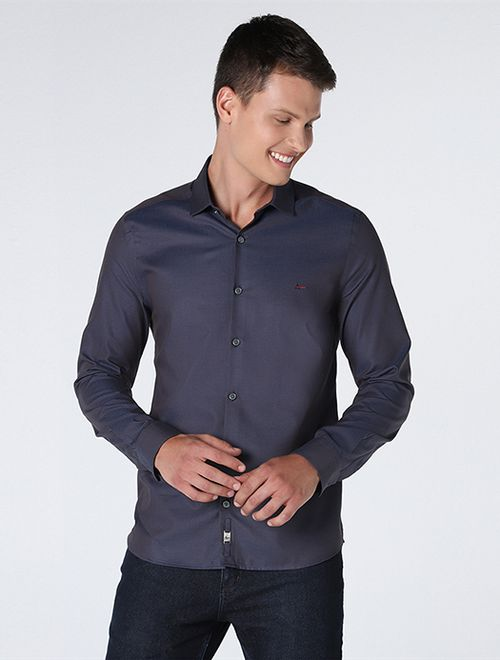 Camisa Night Super Slim Maquinetada Marinho