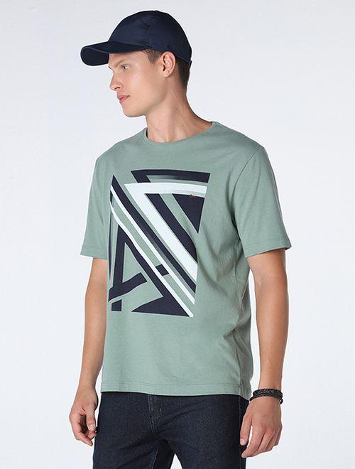 Camiseta Tramas Geometricas Verde Claro