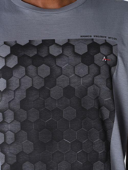 Camiseta Estampada Colmeia Chumbo