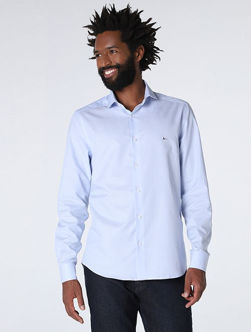 Camisa Social Super Slim Xadrez Azul
