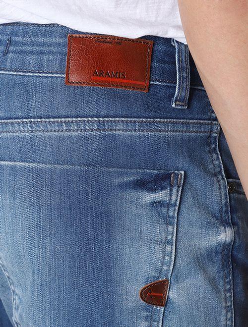 Calça Jeans Slim Delave Puida Azul