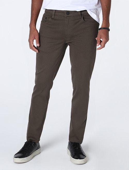 Calça Comfort Skinny Peletizada Verde Escuro