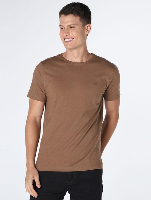 Camiseta Manga Curta Malha Lisa Caqui