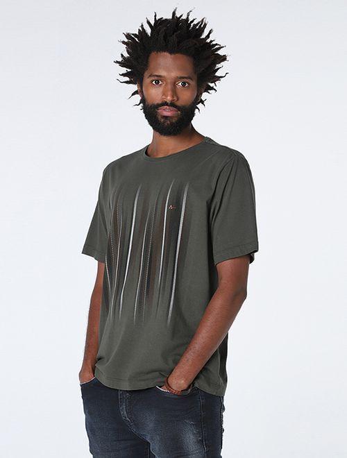 Camiseta  Glitch Textura Verde Escuro