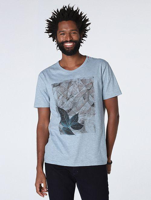 Camiseta Flame Mescla Floral Azul Claro