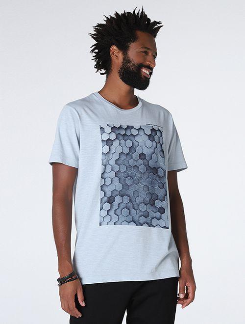Camiseta Estampada Colmeia Azul Claro