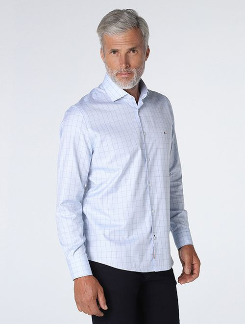 Camisa Maquineta Xadrez Azul Claro
