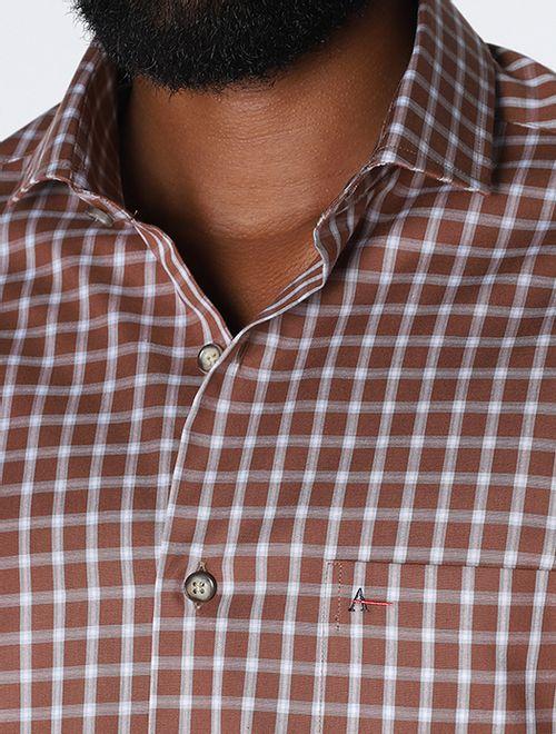 Camisa Xadrez Com Bolso Caqui