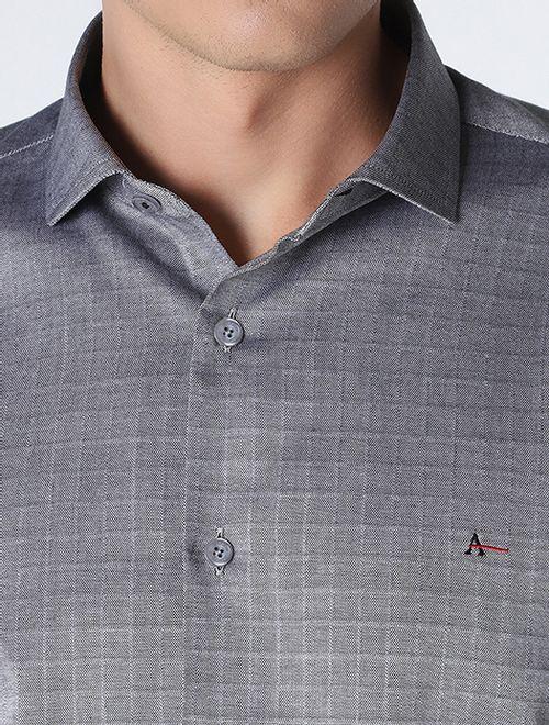 Camisa Maquinetada Quadriculada Cinza