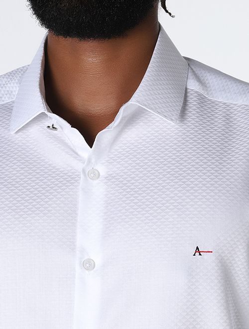 Camisa Night Super Slim Jacquard Branco