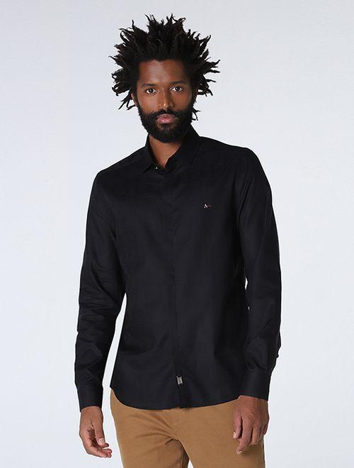 Camisa Night Super Slim Jacquard Preto
