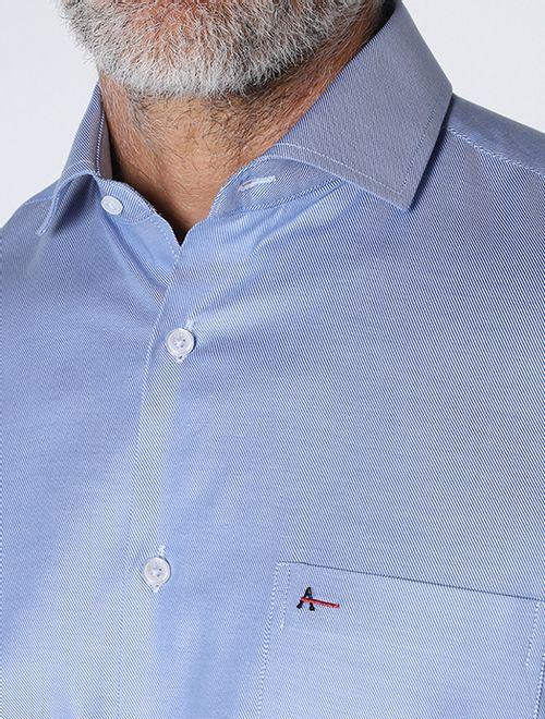 Camisa Social Maquientada Azul Claro