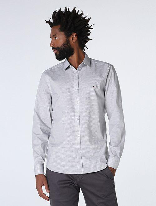 Camisa Super Slim Miniprint Cinza