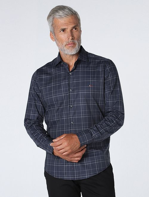 Camisa Slim Xadrez Classic Marinho