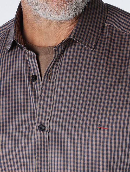 Camisa Super Slim Xadrez Mini Caqui