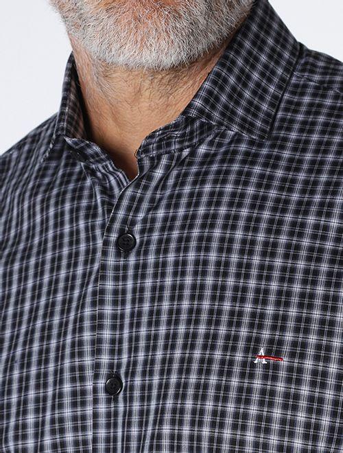 Camisa Slim Xadrez Preto
