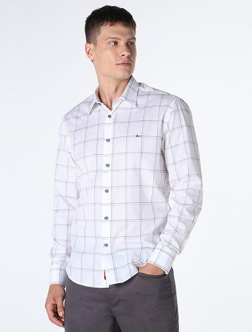 Camisa Slim Xadrez Branco