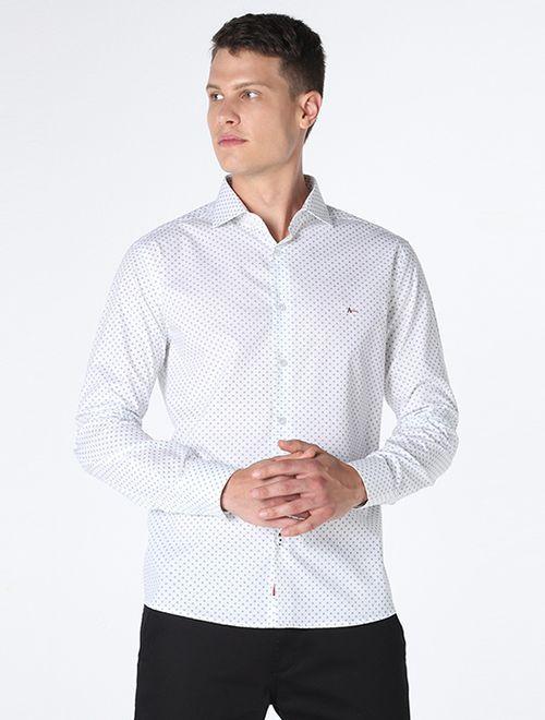 Camisa Slim Mini Flor Branco