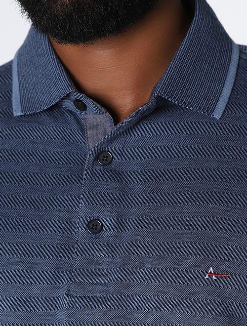Polo Ml Listras Diagonais Azul Medio