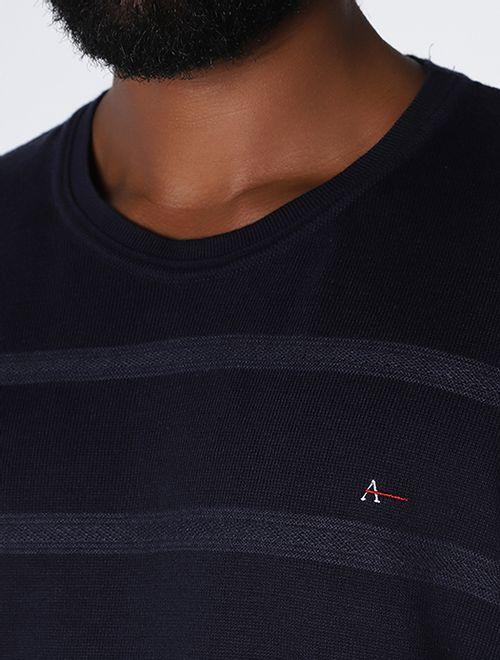 Tricot Gola Careca Listras Textura Marinho