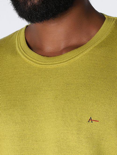Tricot Manga Longa Gola Careca Liso Amarelo