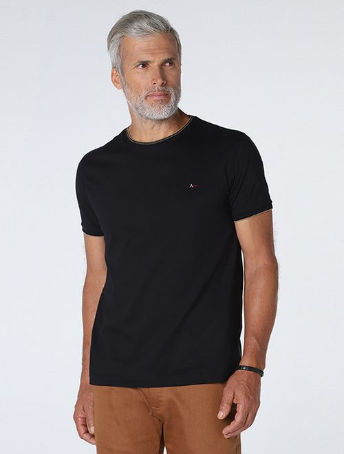 Camiseta Lisa Com Jacquard Preto Com  Caqui