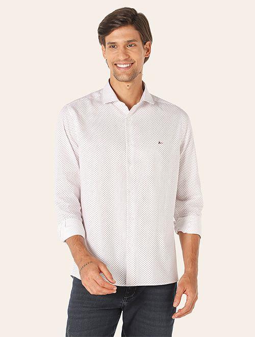 Camisa Menswear Miniprint Vinho Branco