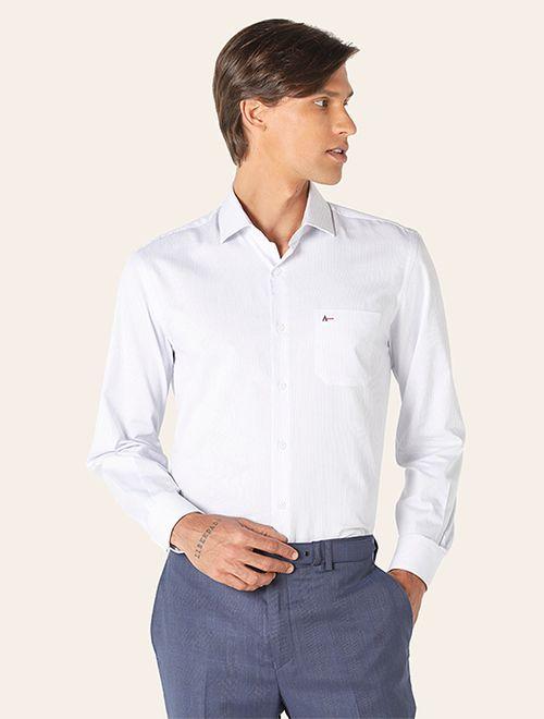 Camisa Social Colarinho Trento Listras Branco