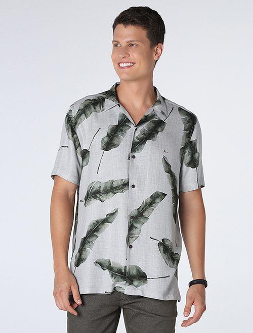 Camisa Slim Resort Estampada Cinza Com Verde