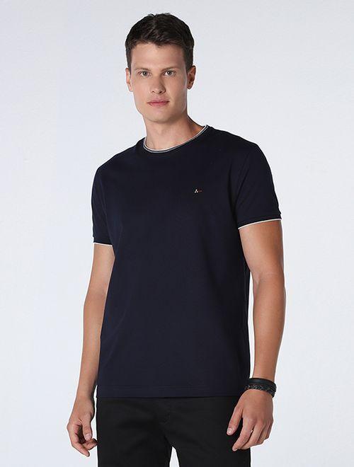 Camiseta Lisa Com Jacquard Marinho/Branco