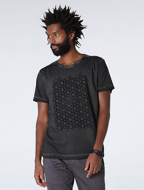 Camiseta Geométrico Floco Night Preto