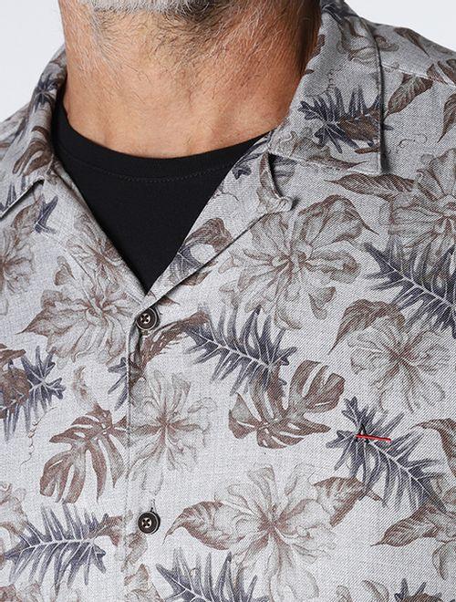 Camisa Slim Resort Botânica Cinza Com  Marrom