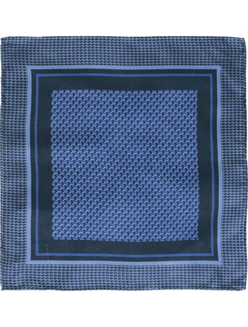Lenco Gravataria Geometrico De Seda Azul