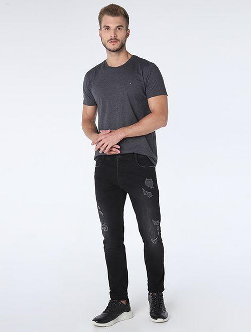 Calça Jeans Skinny Fundo Blackout Preto