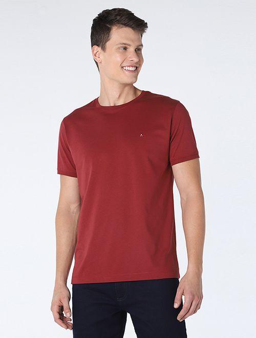 Camiseta Básica De Algodão Pima Vinho