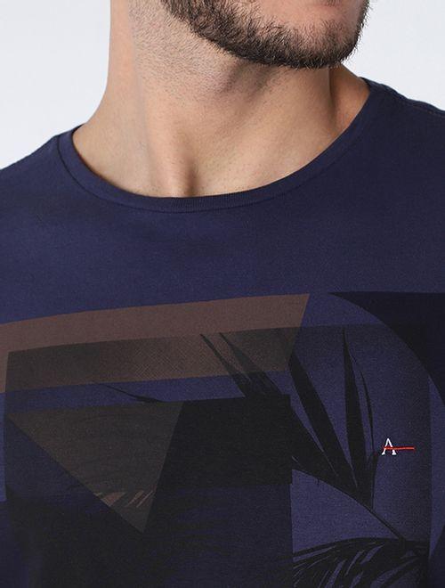 Camiseta Colagem De Folhagem Azul Indigo