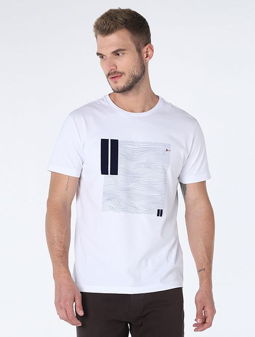 Camiseta Linhas Curvas Floco Branco