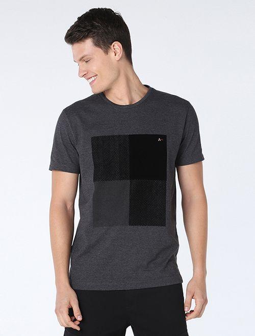 Camiseta Mescla Quadro Zig-Zag Night(Pa) Grafite Mescla