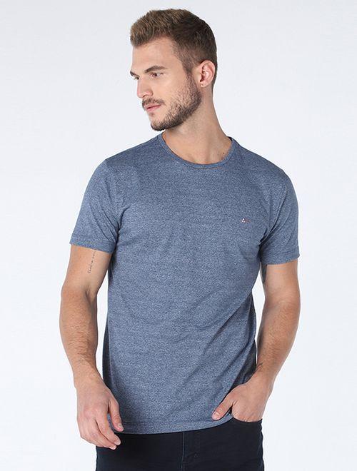 Camiseta Basica Texturizada Azul Escuro