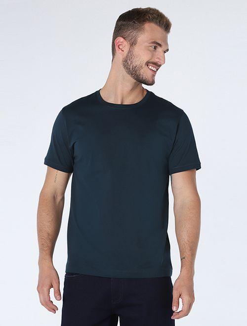 Camiseta Algodao Pima Sem Bordado Petroleo