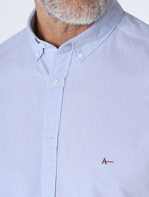 Camisa Slim Button Down Azul Claro