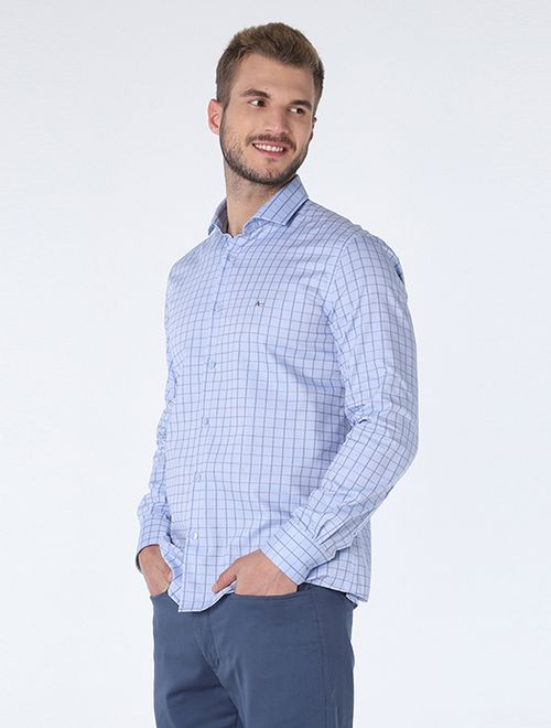 Camisa Jacquard Xadrez Platinum Azul