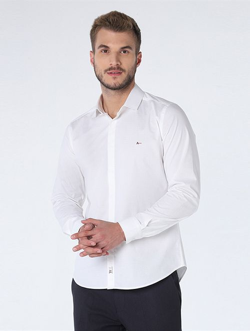 Camisa Night Super Slim Pontilhado Branco