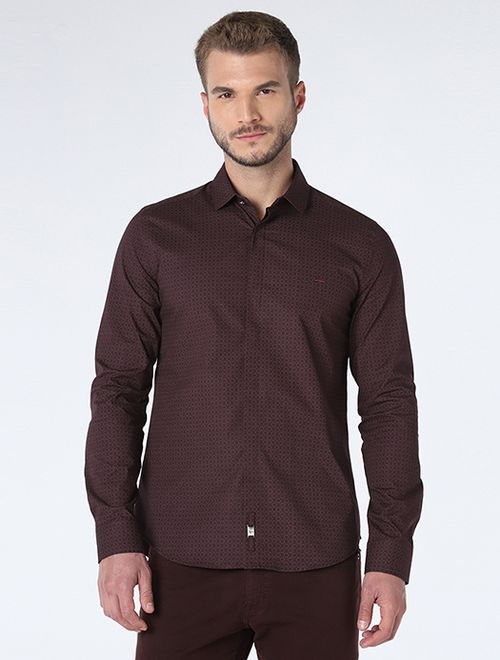 Camisa Night Super Slim Pontilhado Vinho