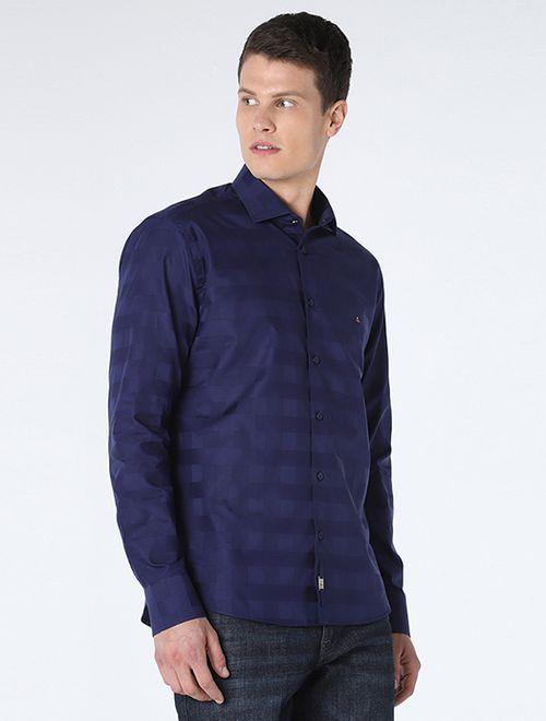 Camisa Night Slim Xadrez Maxi Marinho